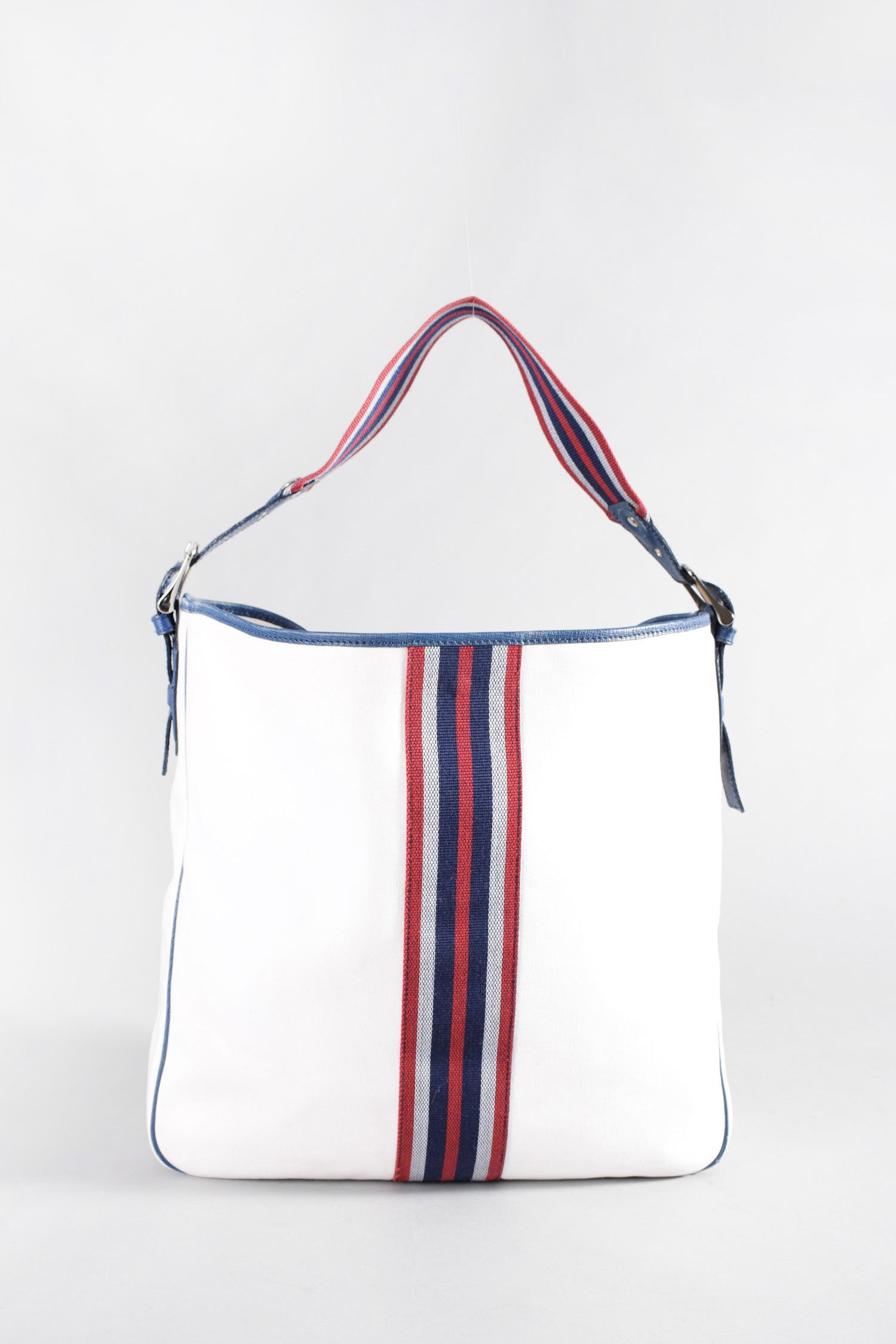 Burberry White Tote w/ Navy/Red Stripes