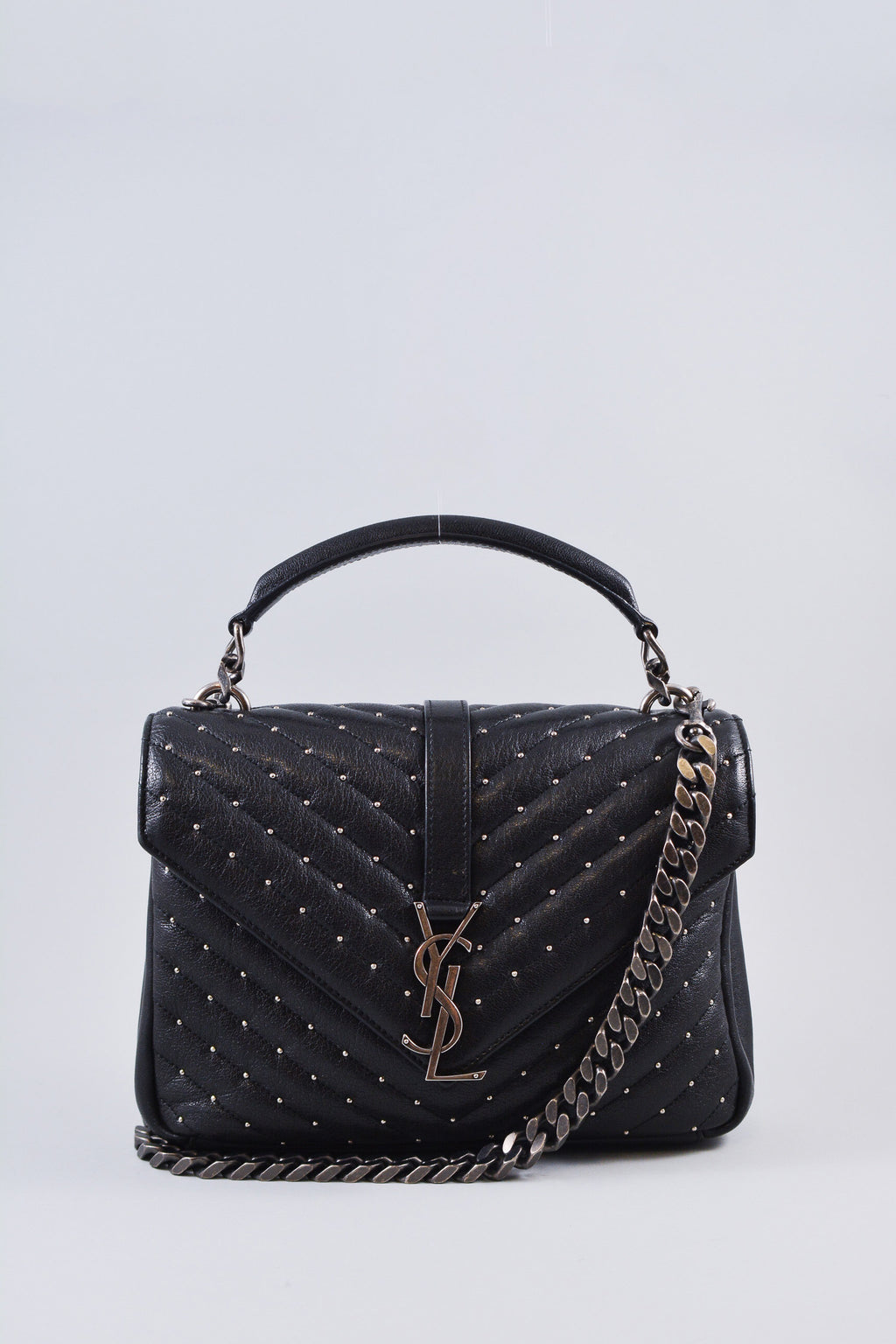 Saint Laurent Black StuddedMedium College Bag