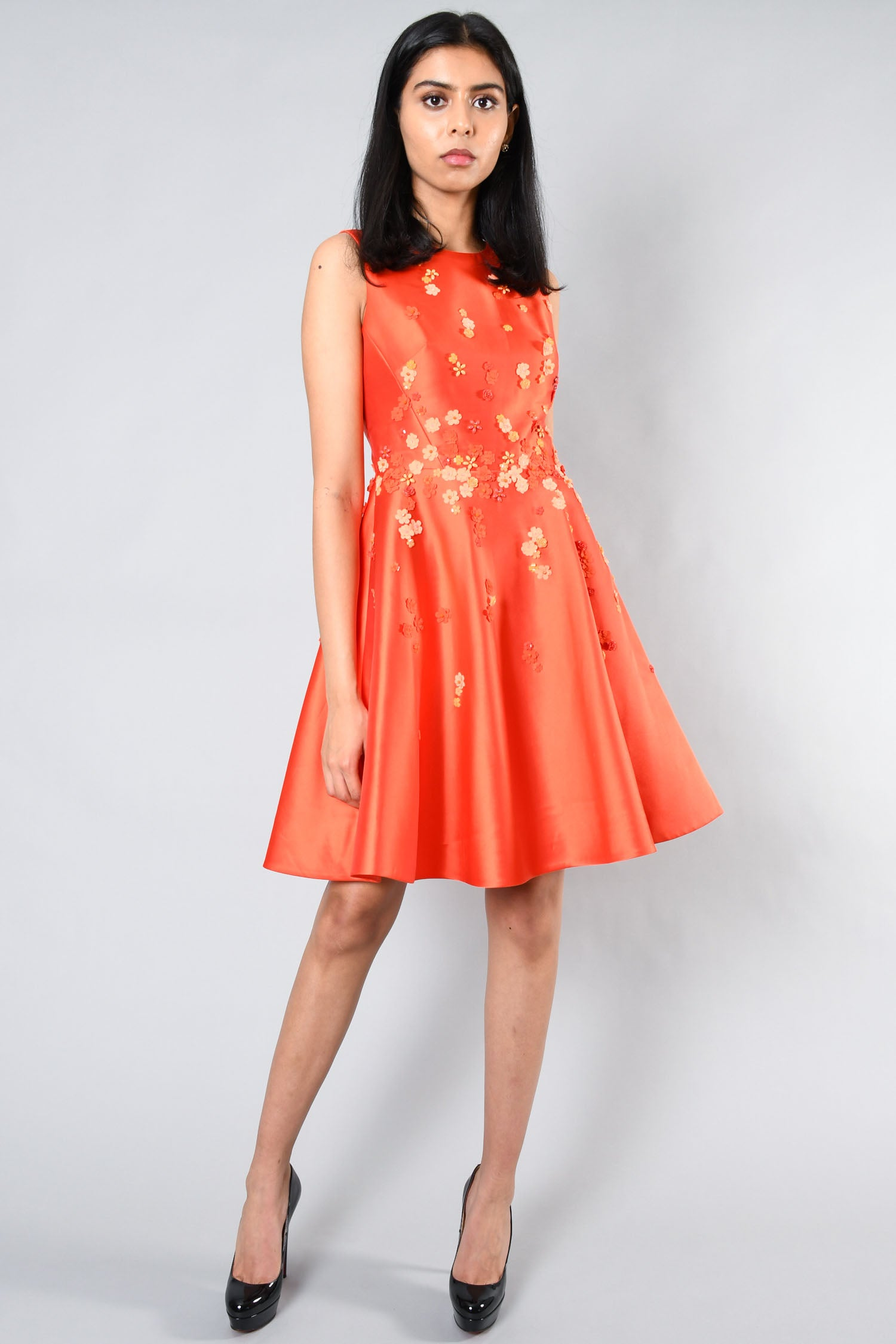 Karen Millen Orange Floral Beaded Dress Size 4 US