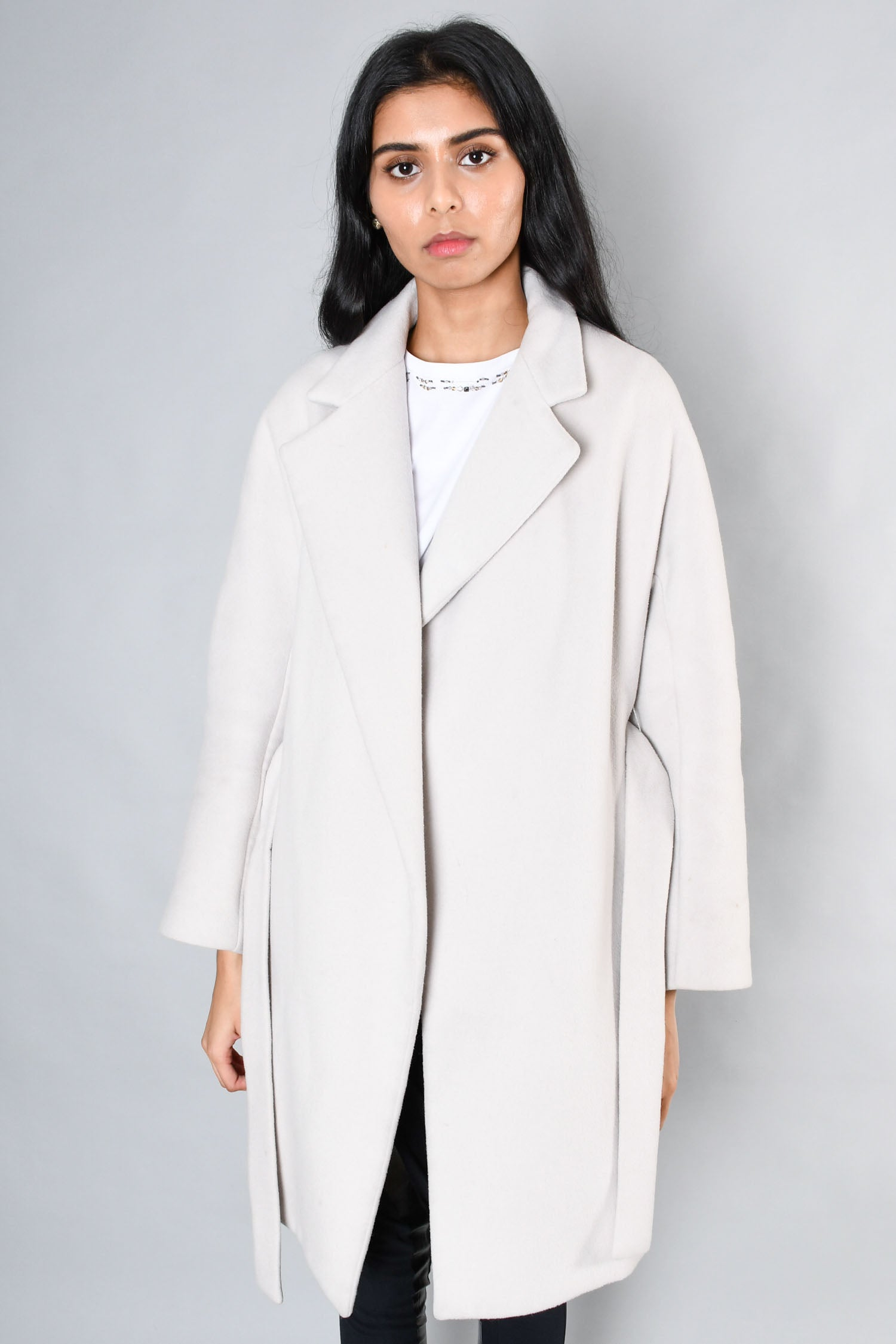 Tempo Light Grey Belted Wool Coat Size 42
