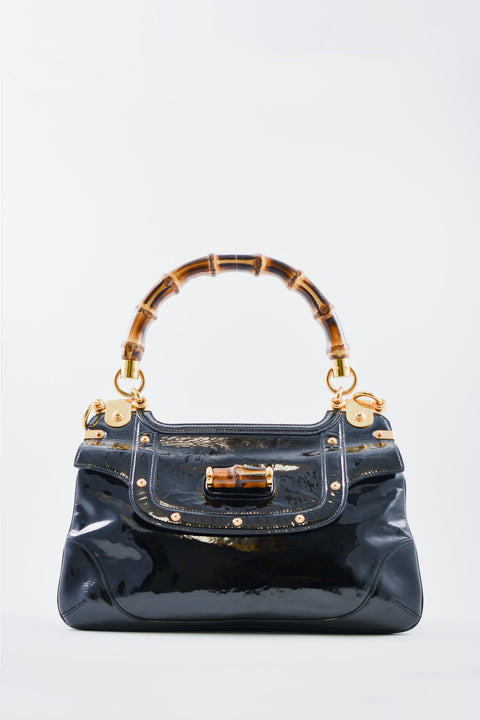 Gucci Black Patent Handbag with Bamboo Handle