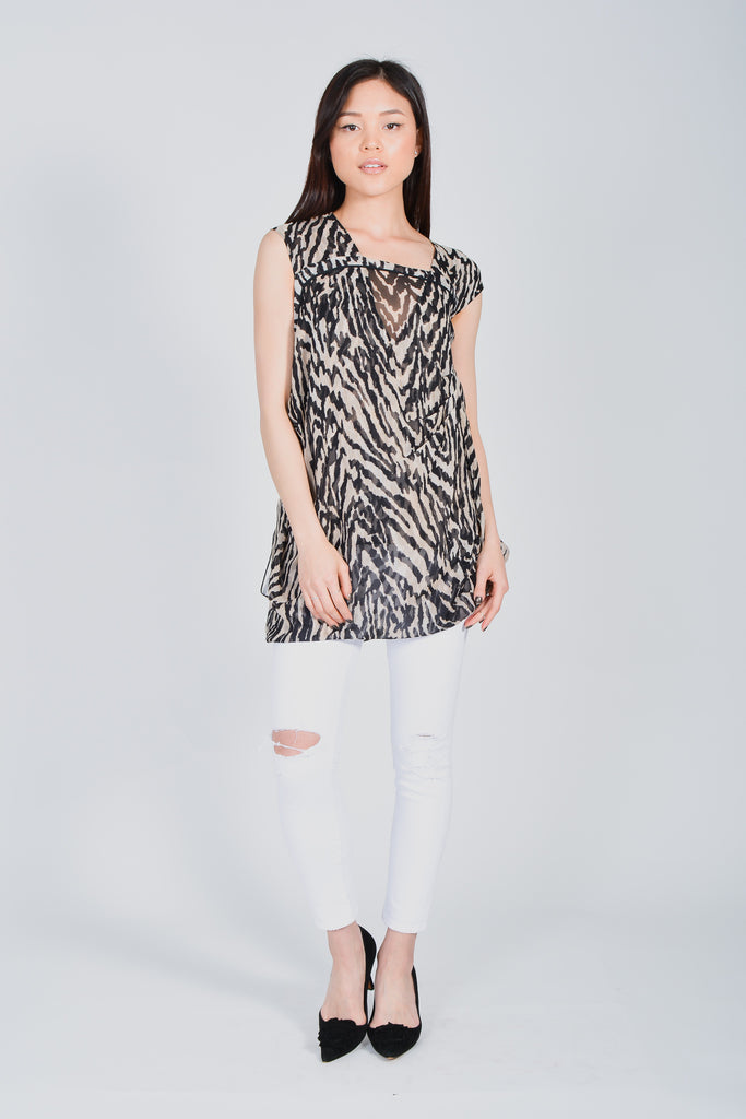 Tom Ford Sheer Silk Zebra Print Blouse