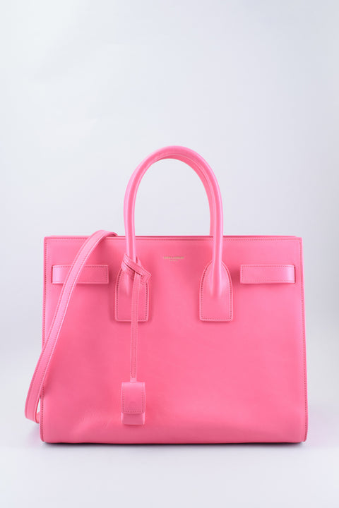 Saint Laurent Small Pink Leather Sac De Jour Handbag