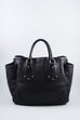Prada Black Leather Side Pocket Silver Stud Bag