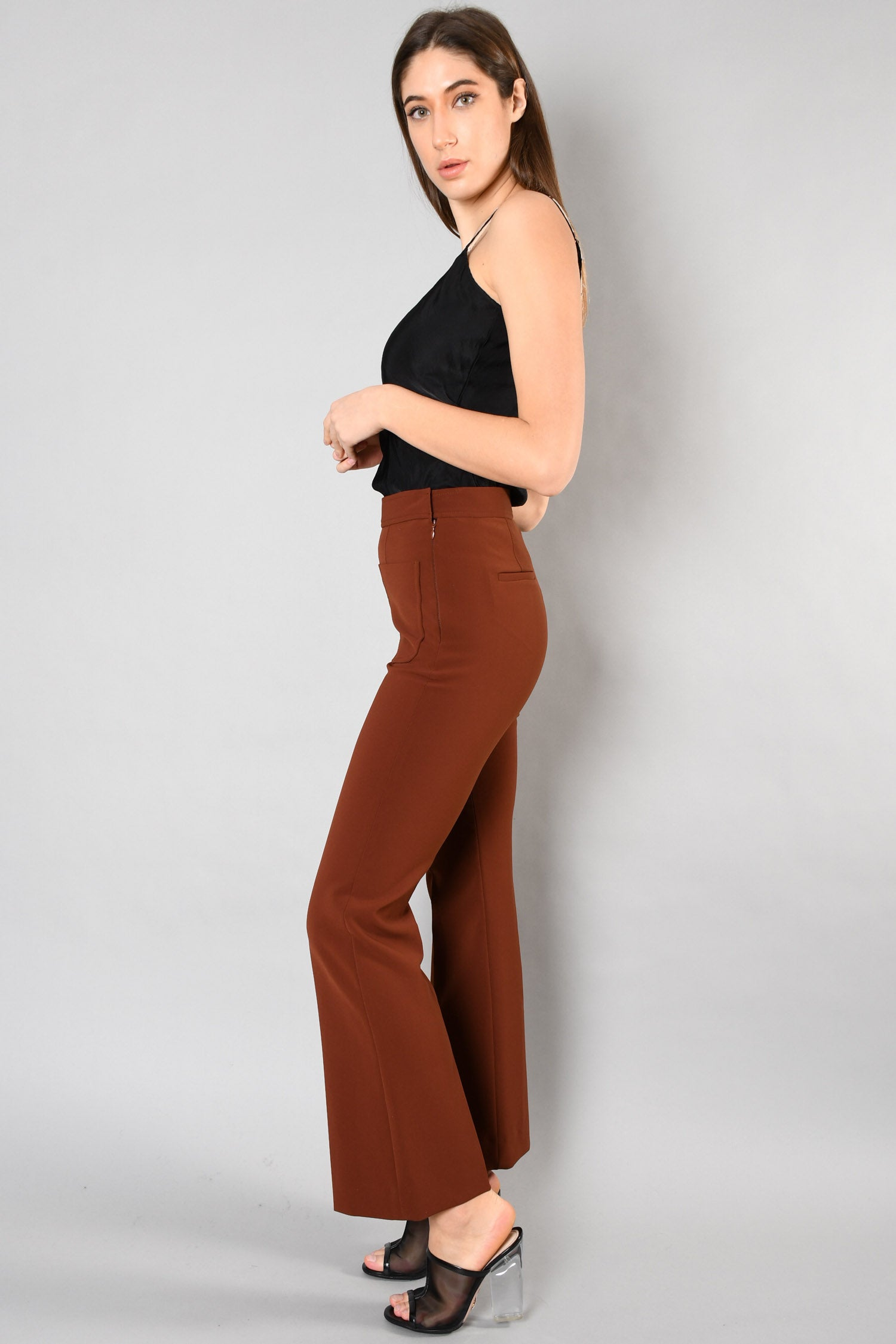 Sandro Brick Red Flared Tailored Pants Size 36
