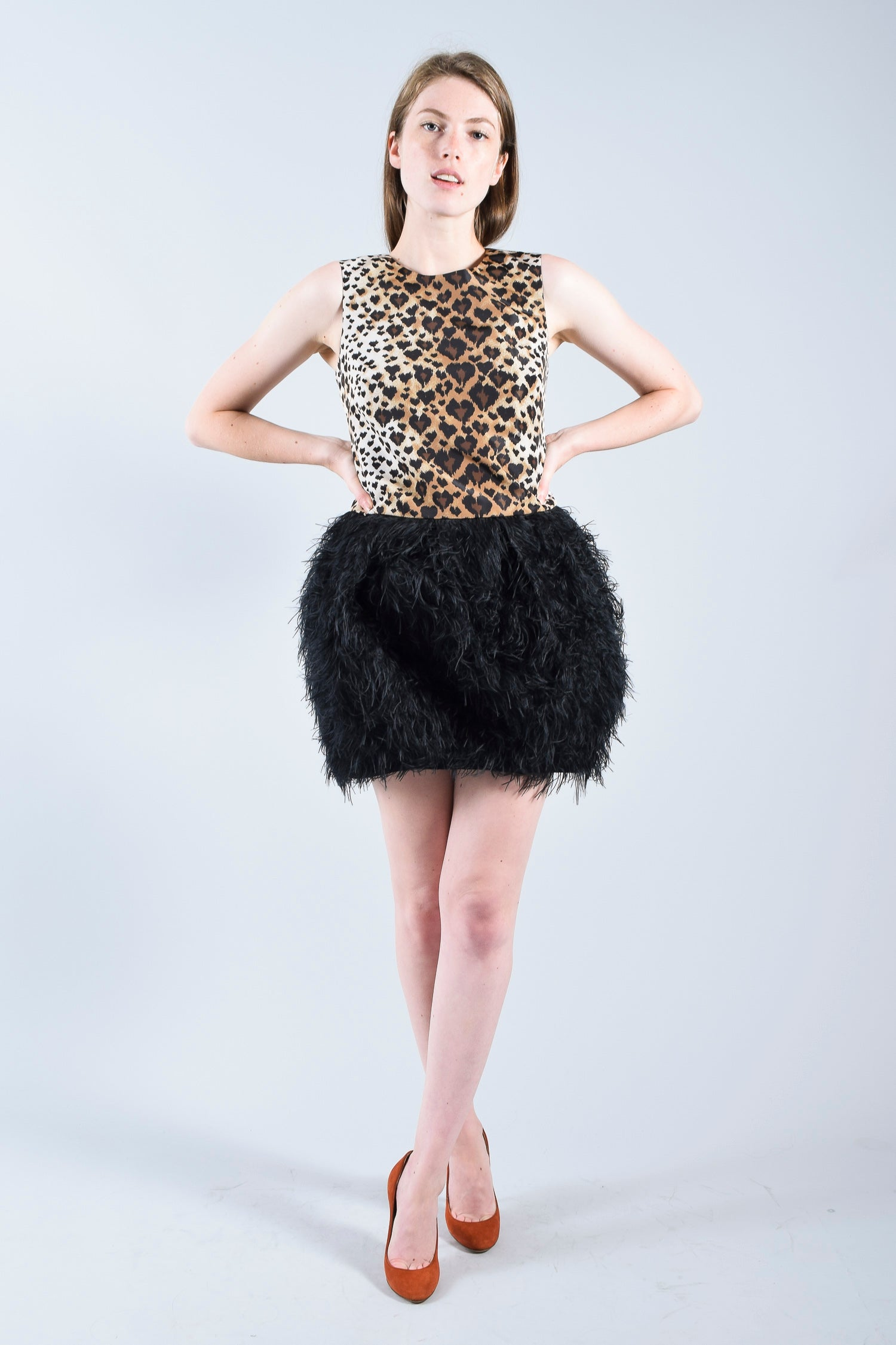 RED Valentino Leopard & Feather Dress sz 38