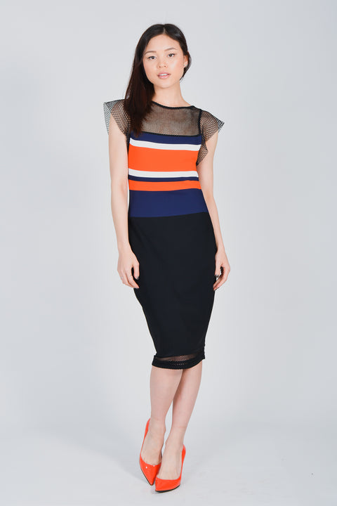 7eed95262dc Vionnet Navy   Orange Knitted Dress