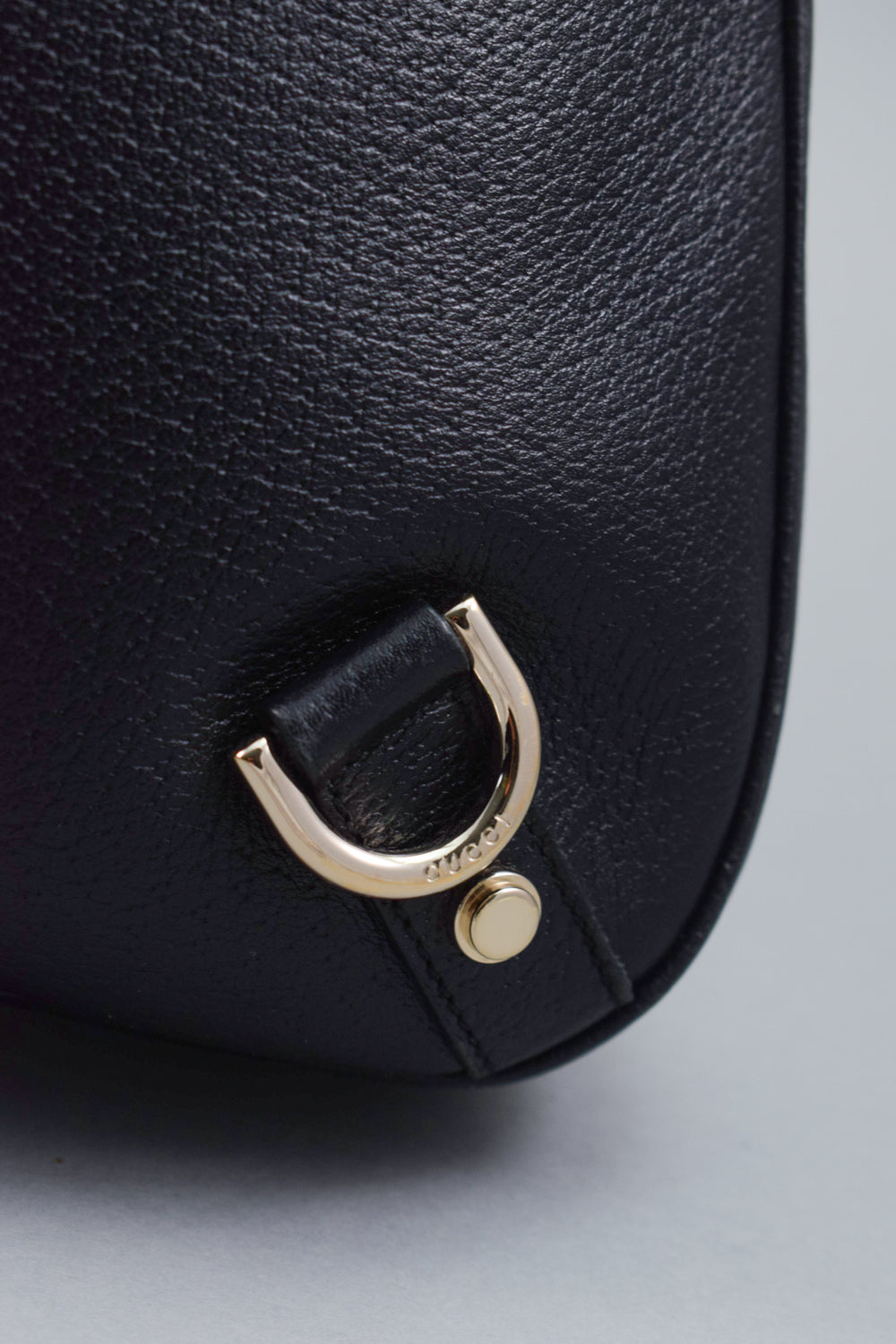 Gucci Black Leather Top Handle Hobo