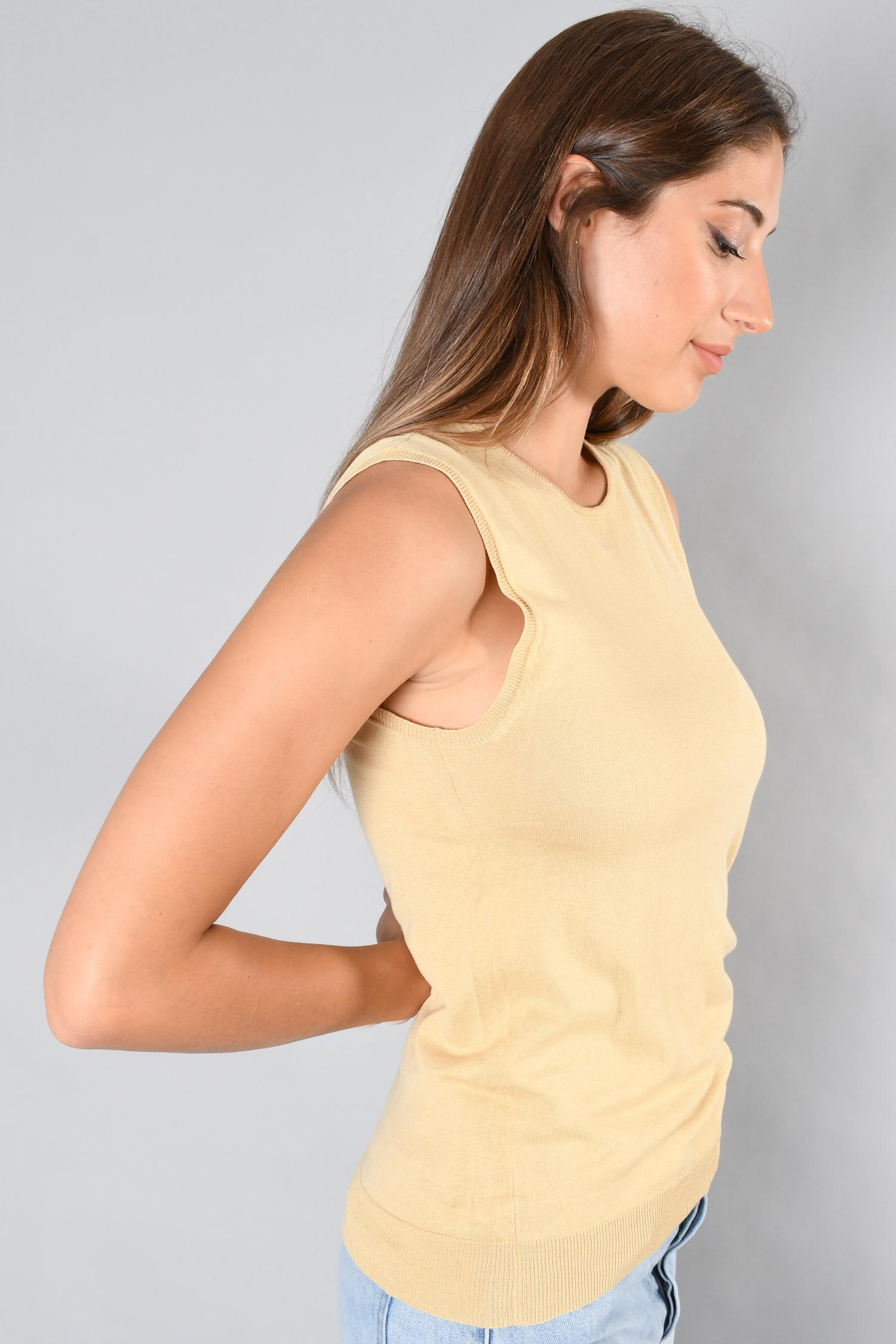 Enfold Gold Sleeveless Top Size 38