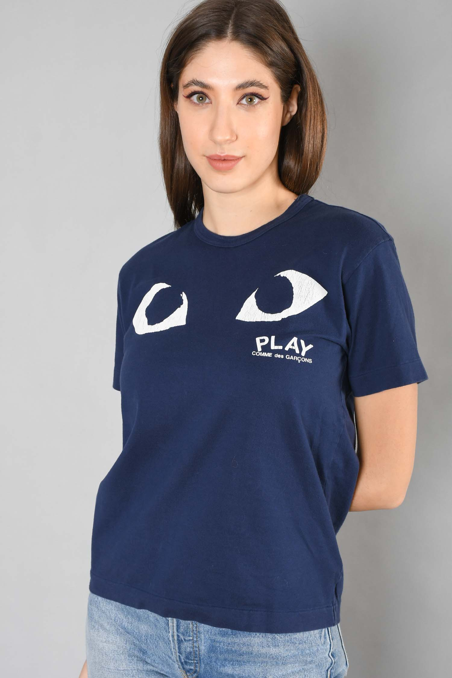 Play Comme Des Garcons Navy Eye Graphic T-Shirt Size M