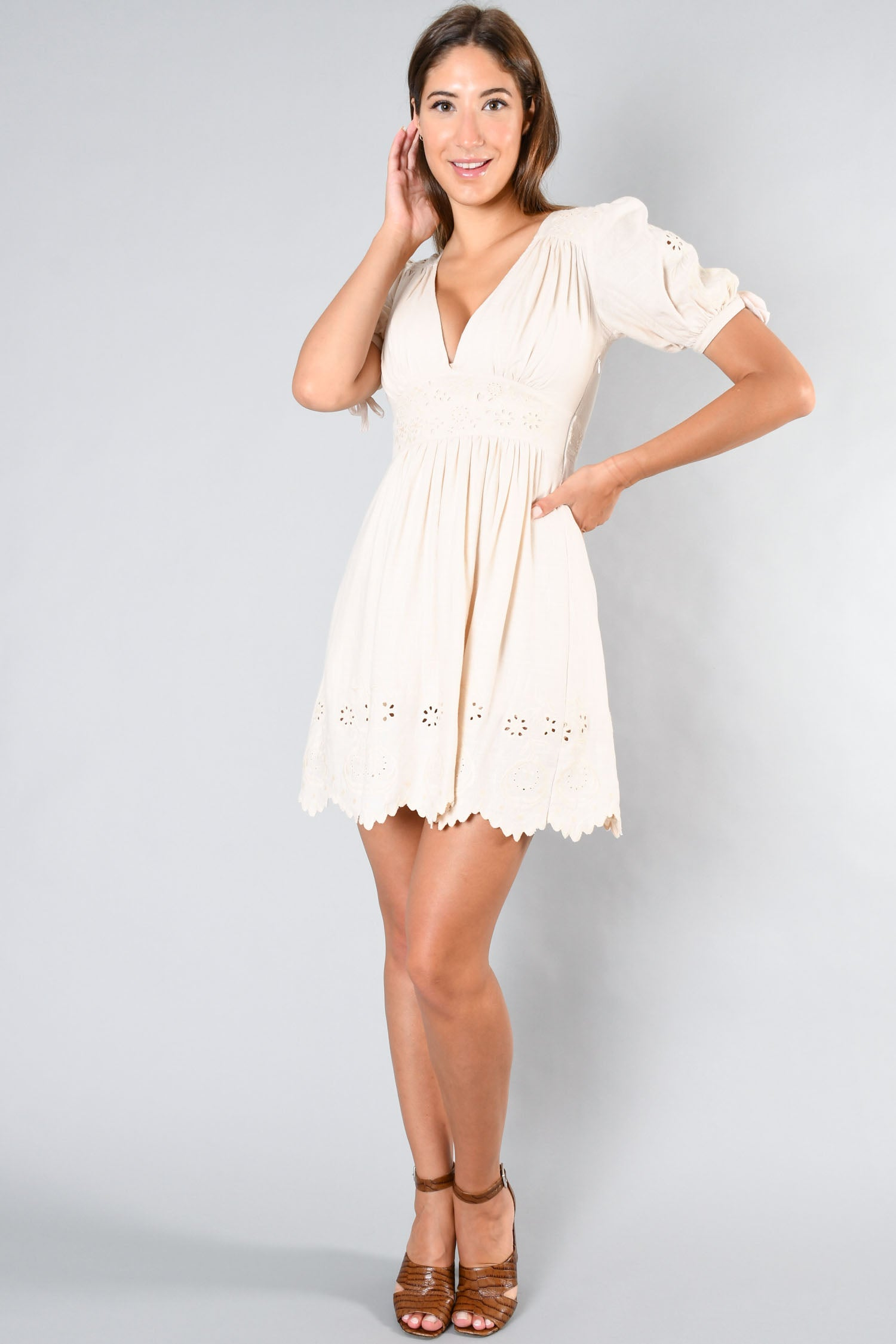 Spell & The Gypsy Cream Eyelet Embroidered Mini Dress Size XS