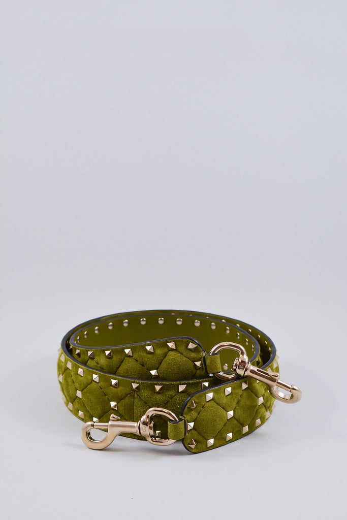 Valentino Green Suede Studded Bag Strap