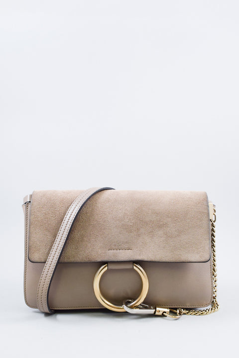 Chloe Small Grey Suede & Leather Faye Shoulder Bag