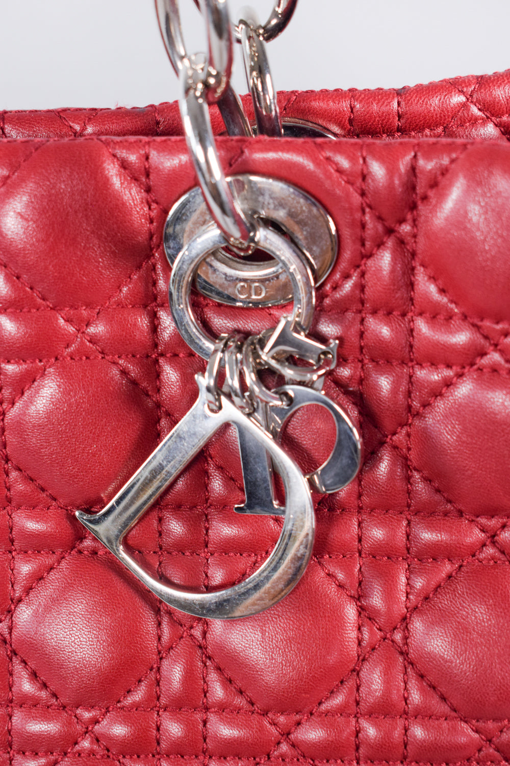 Christian Dior Red Soft Lambskin Large Lady Dior