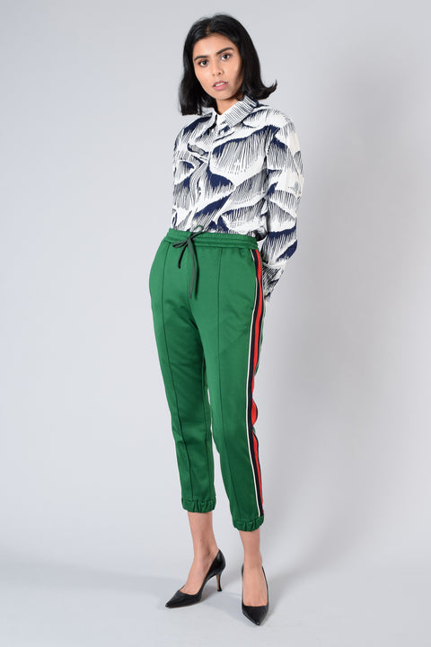Gucci Green Jersey Striped Track Pants Size S