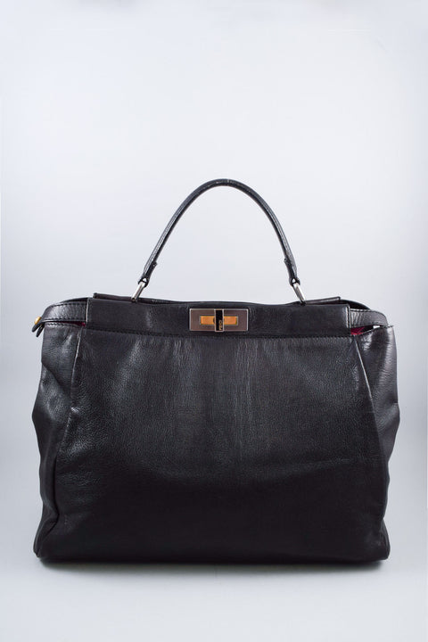 Fendi Black Leather Large Peekaboo