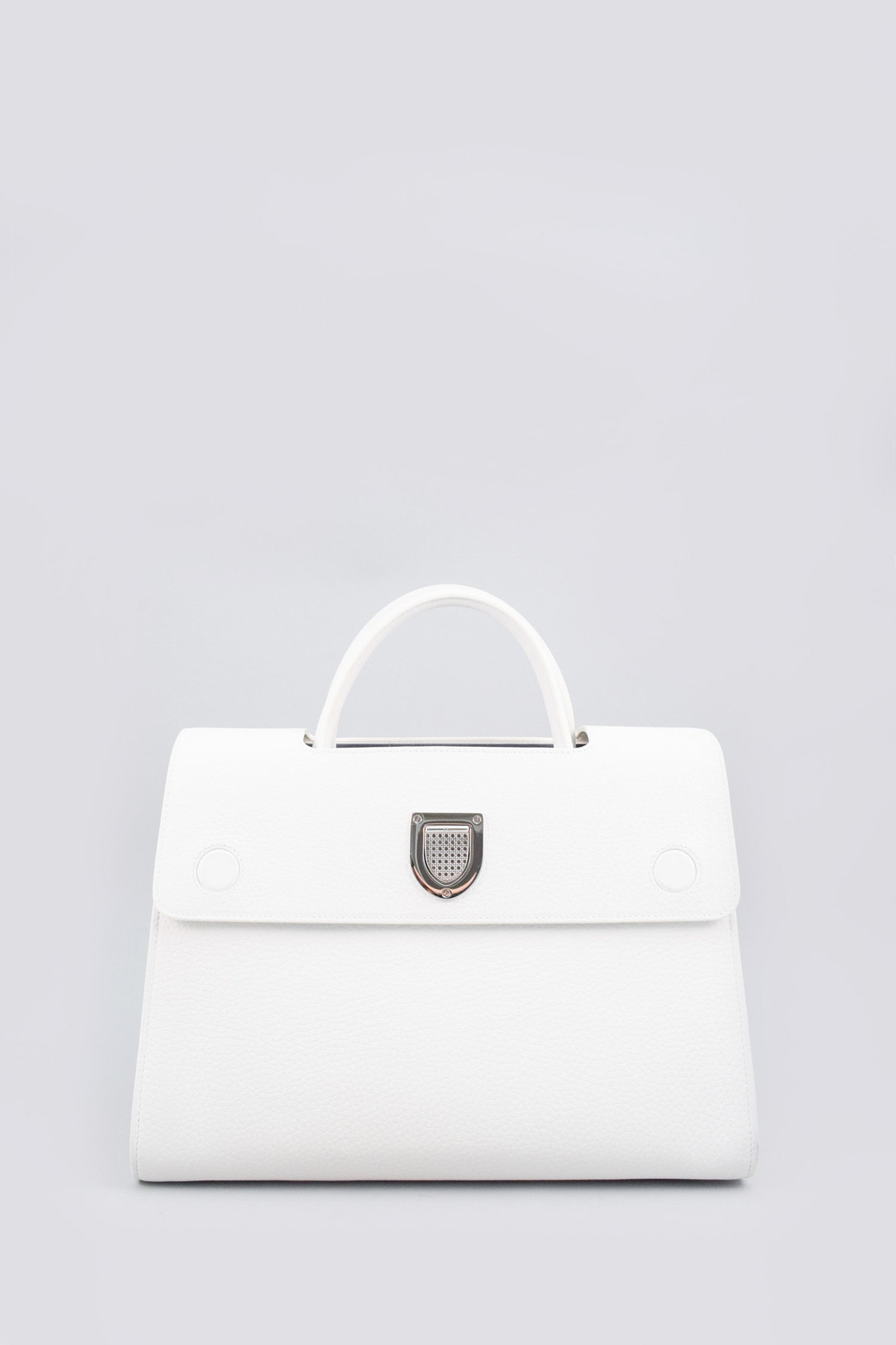 Christian Dior White Grained Leather Diorever Medium Handbag