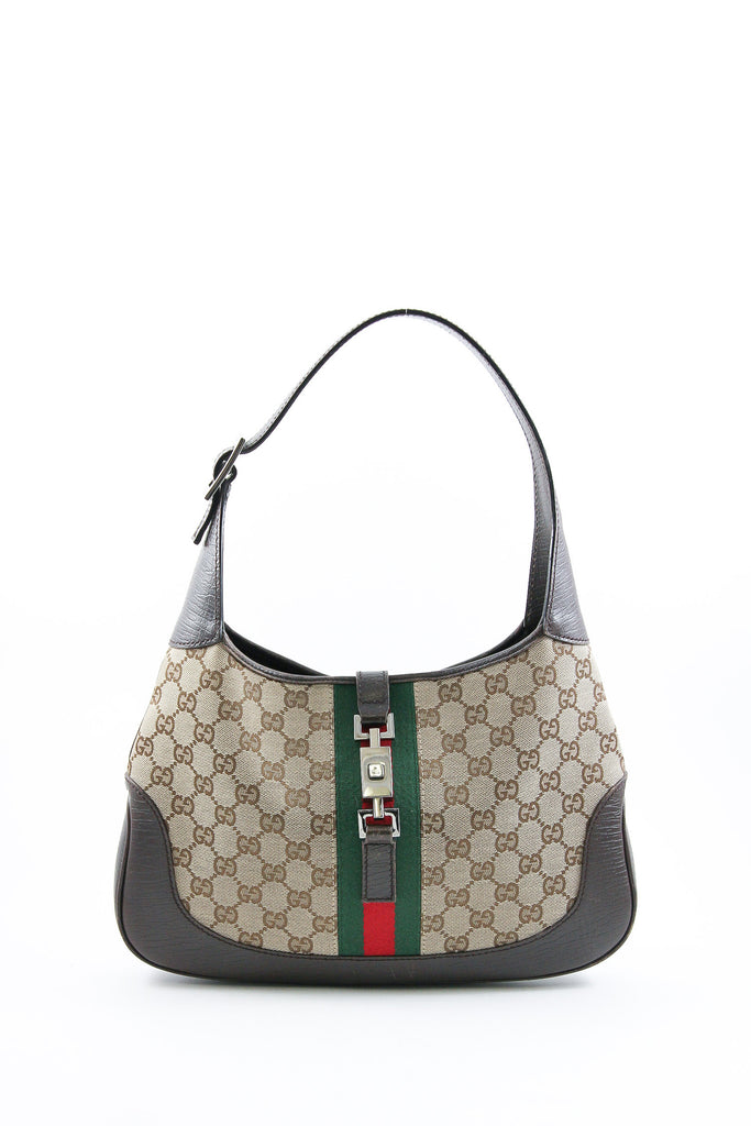 Gucci Monogram Canvas Reins Hobo with Web Detail