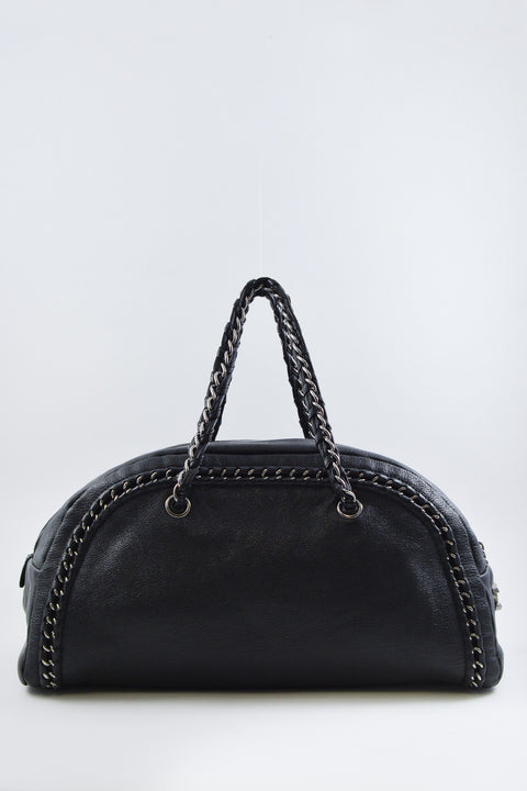 Chanel Black Leather Tote with Silver Chain Details