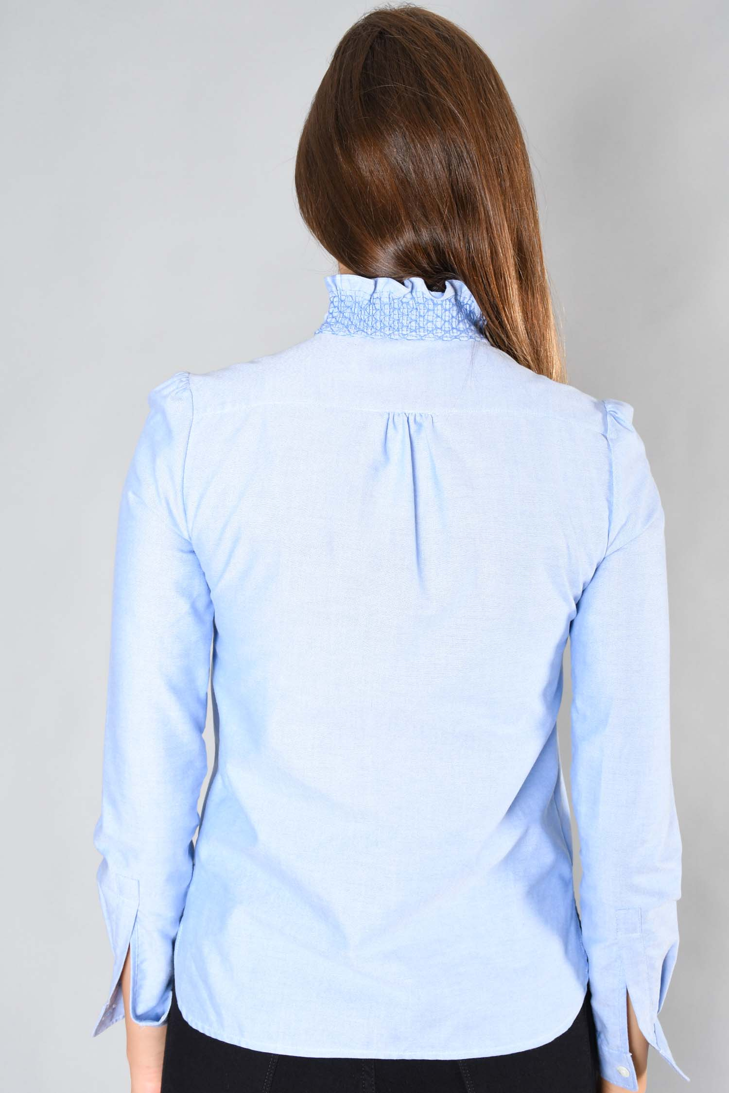 See by Chloe Blue Ruffled Collar Blouse Size 34