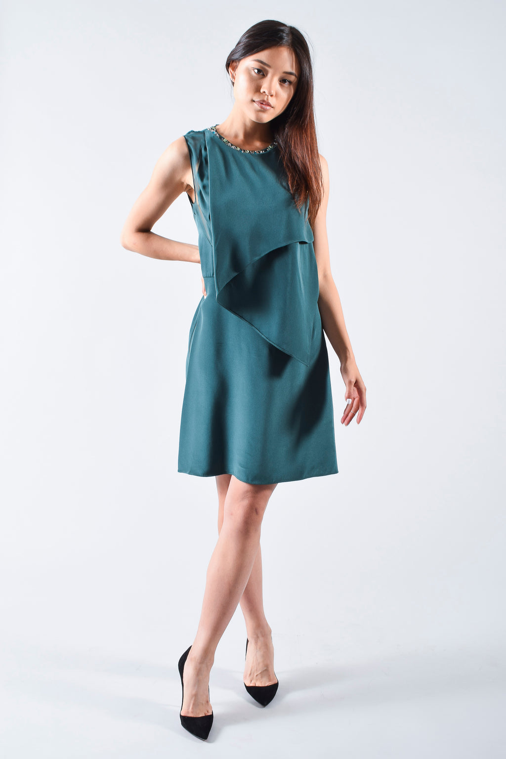 Phillip Lim Green Silk Dress with Jewelled Collar Size 0