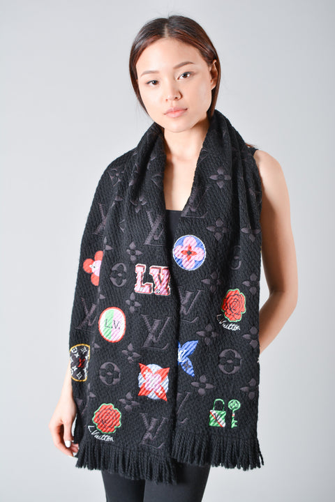 Louis Vuitton Black Stories Logomania Scarf
