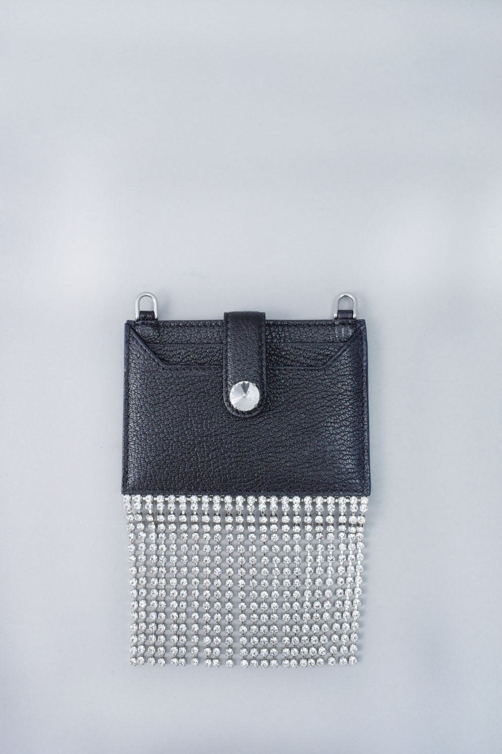 Miu Miu Black Leather Madras Cardholder w/ Crystal Tassle and Chain