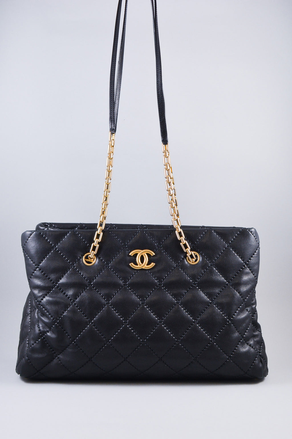 Chanel Black Large CC Crown Tote w/ Gold Hardware