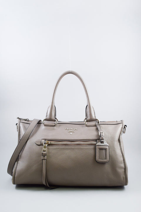 Prada Grey Pebbled Leather Top Handle bag