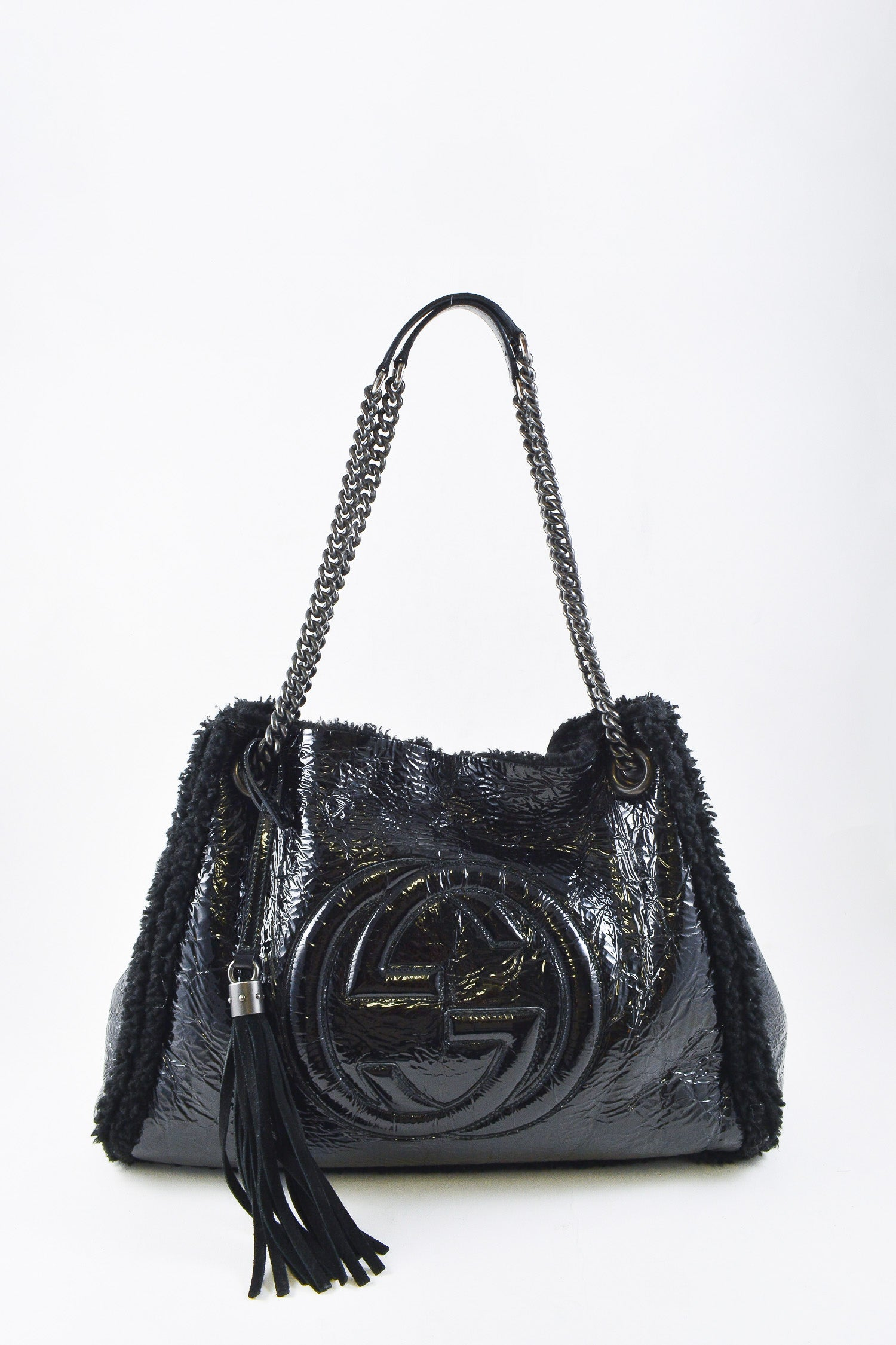 Gucci Medium Black Sherpa Soho Chain Shoulder Bag