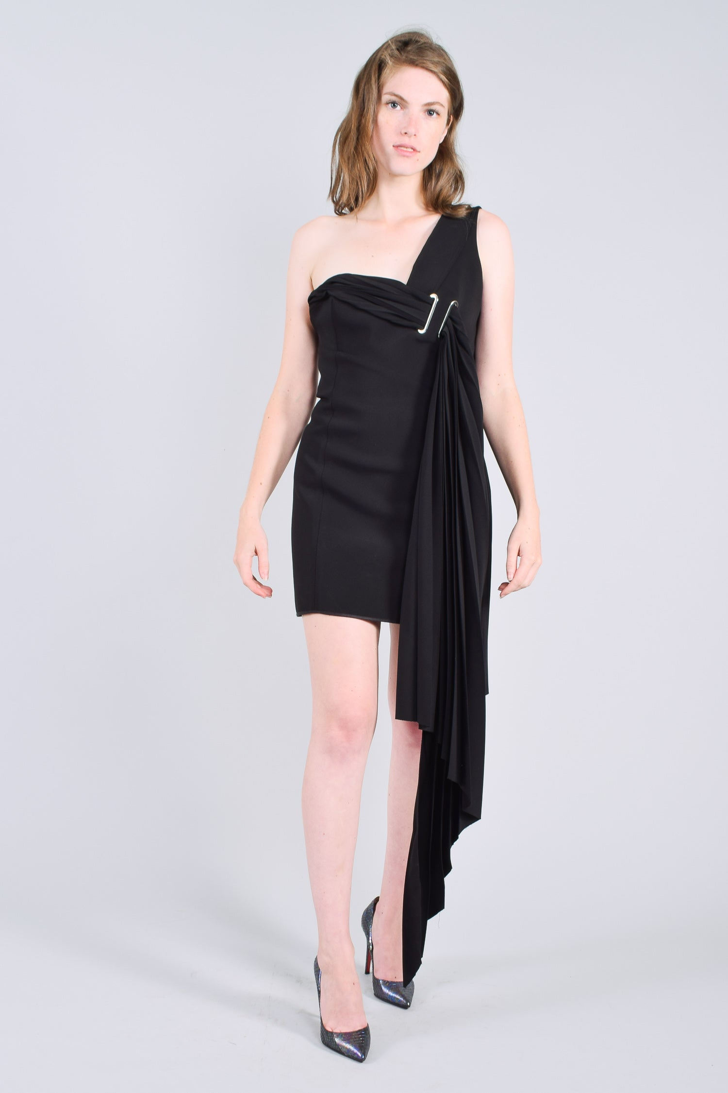 Anthony Vaccarello Black Mini Dress w/ Pleated Details Size S