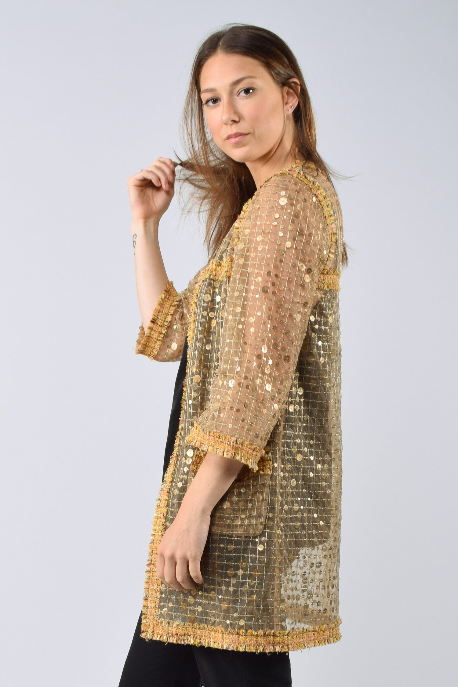 Chanel Yellow/Gold Sequin Sheer L/S Cardigan Size 36