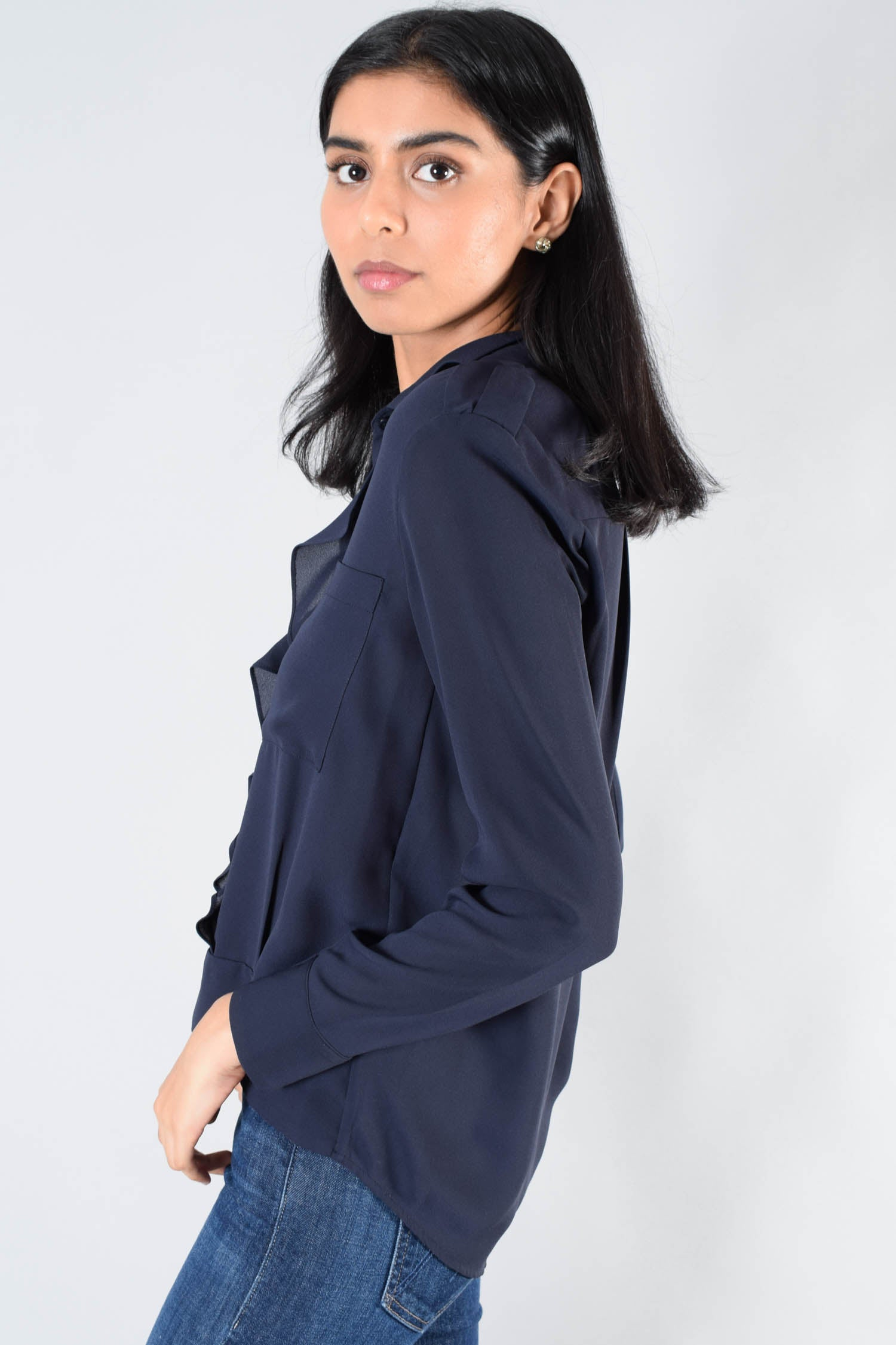 The Kooples Navy Ruffled Button-Up Size S