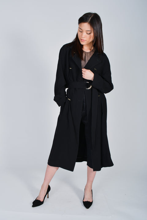 Sandro Black Trench Size 40