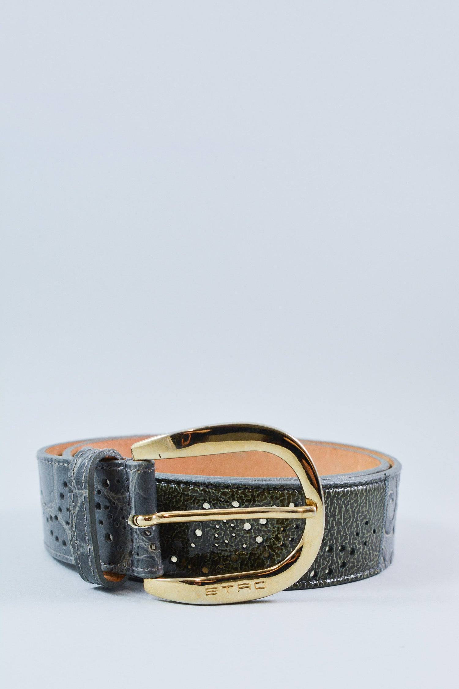 Etro Grey Embossed Belt Size 34""