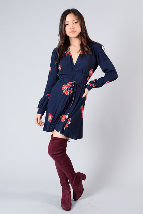 Reformation Navy Floral Wrap L/S Dress Size S