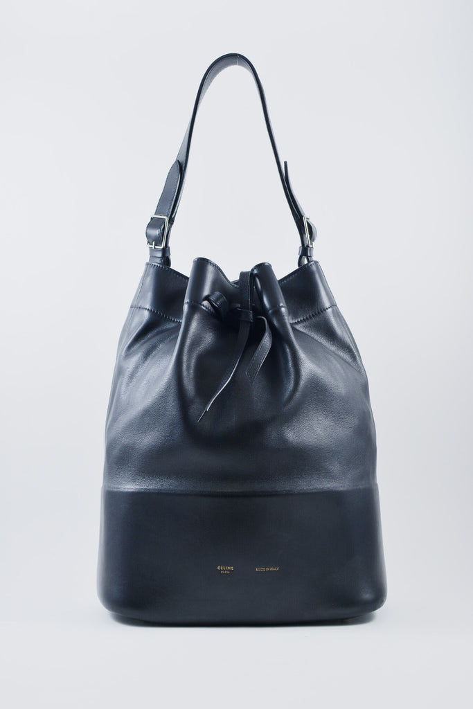 Celine Seau Black Lambskin Bucket Bag