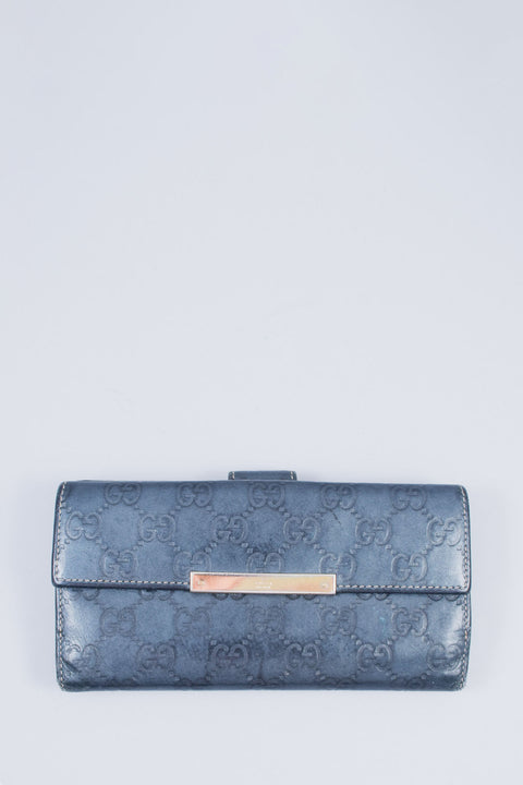 Gucci Blue GG Monogram Leather Wallet