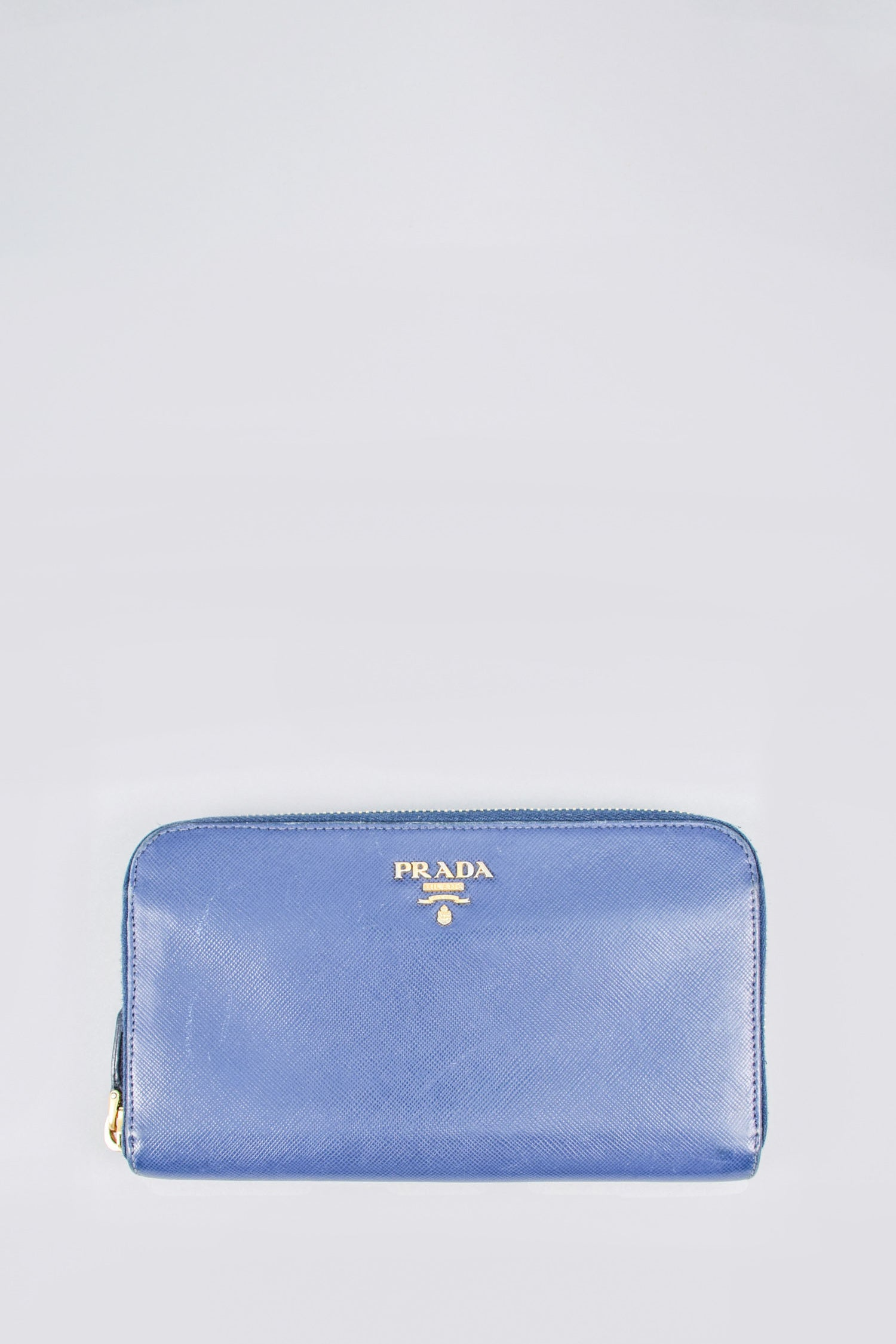 Prada Navy Saffiano Zip Around Wallet