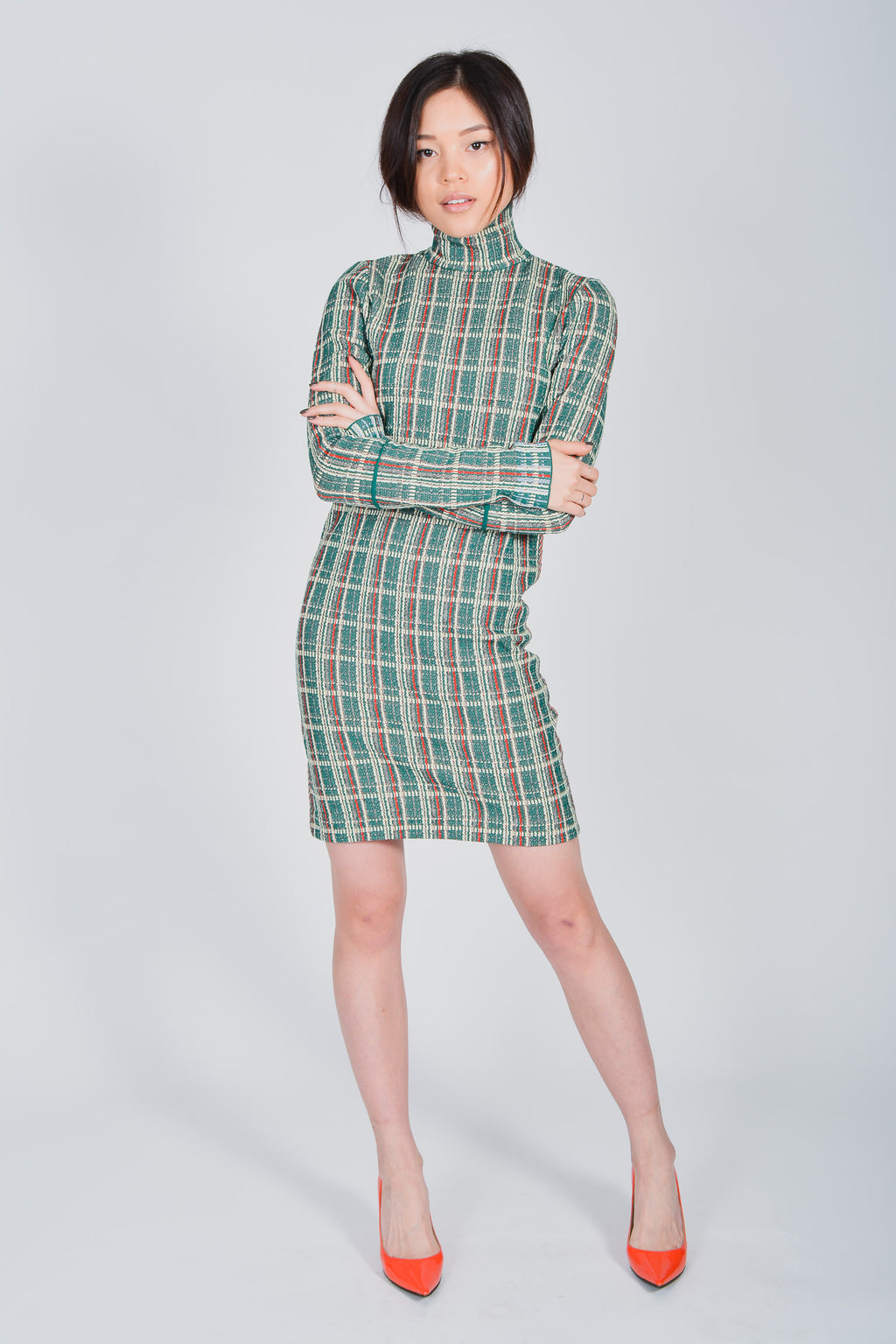 Celine Green Tweed Turtleneck Dress