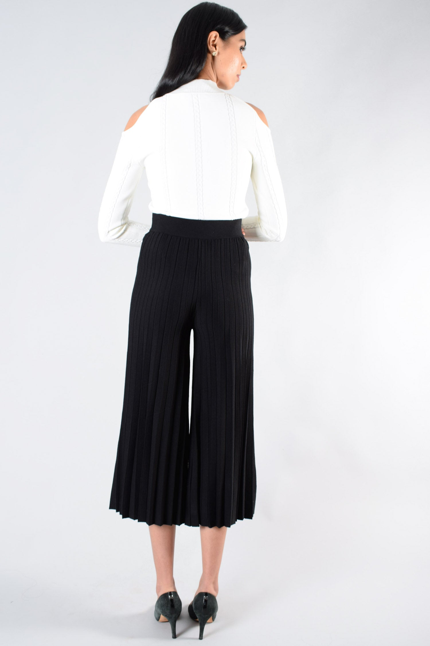 Derek Lam 10 Crosby Black Pleated Culottes Size S
