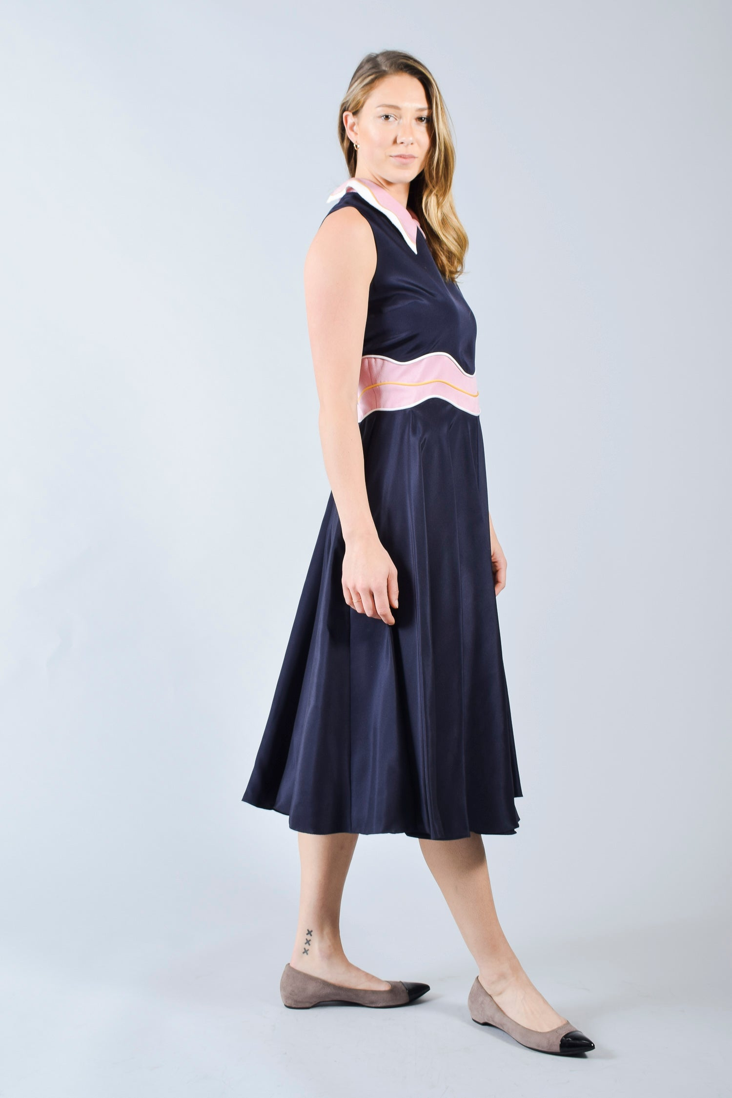 Roksanda Navy Dress w/ Pink Collar Size 14