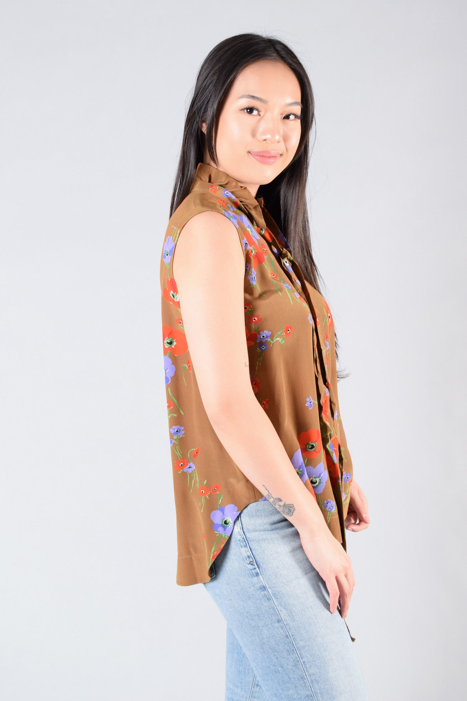 No.21 Brown Floral Silk Top Size 38