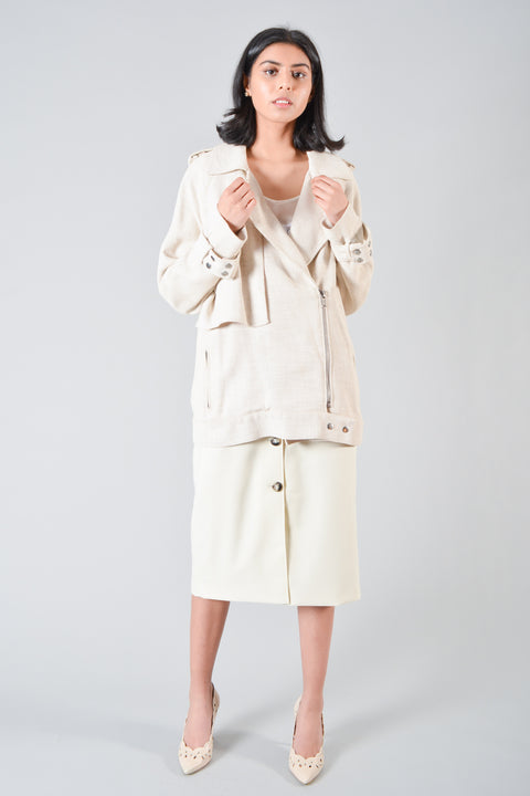 A.L.C. Cream Linen-Blend Jacket Size L