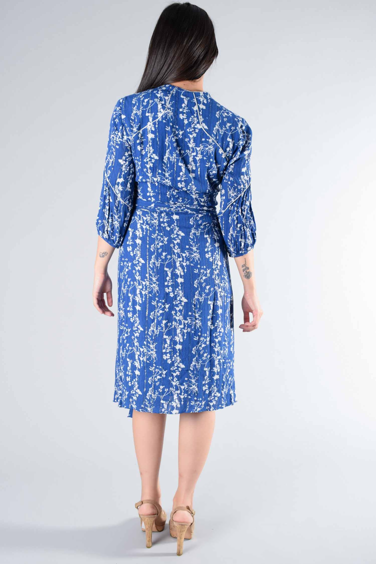 Ba&Sh Blue Floral Quarter-Length Sleeve Wrap Dress Size 0