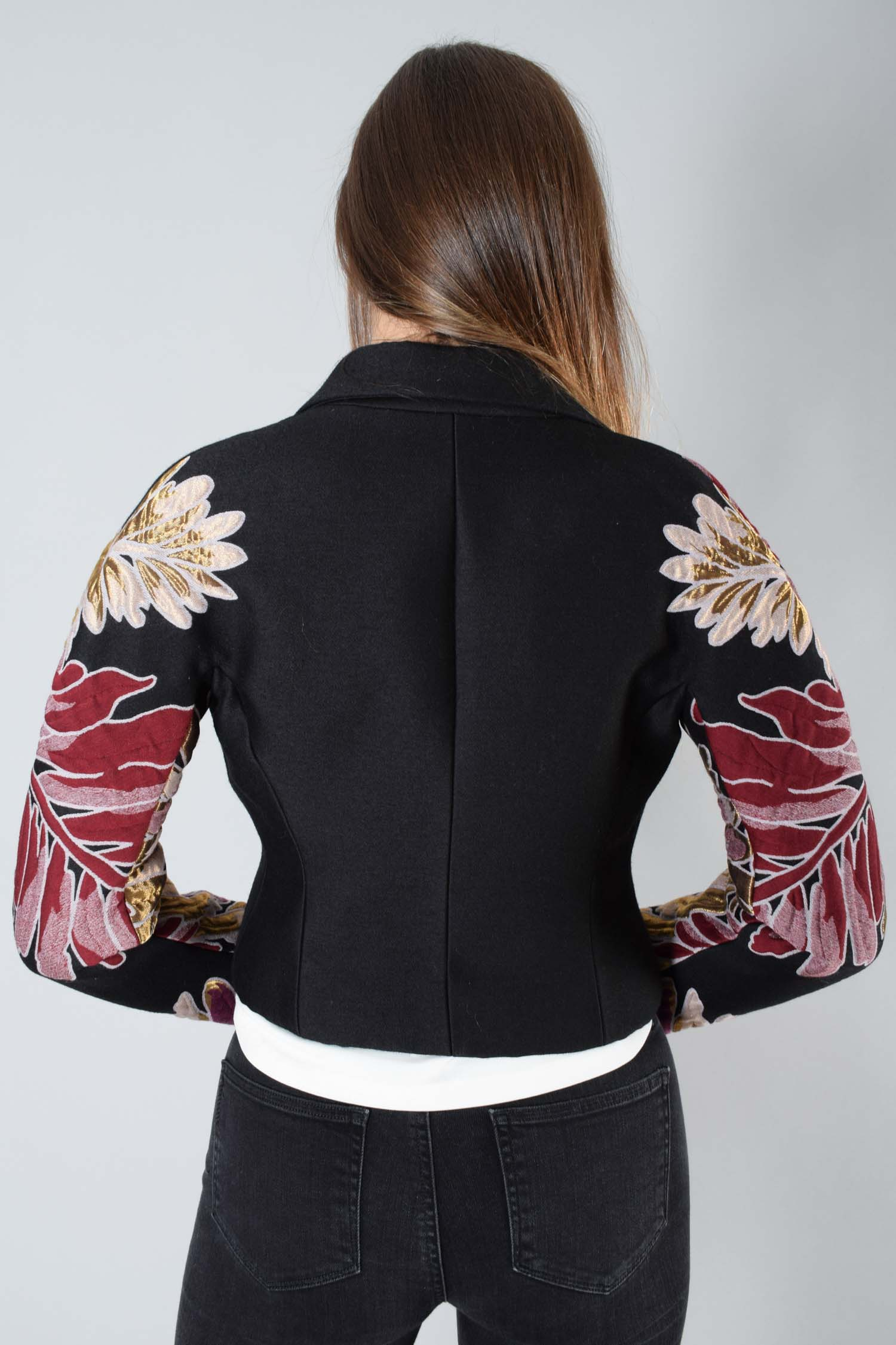 Gucci Black Floral Sleeves Jacket Size 36