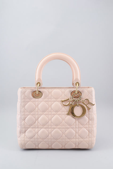 Christian Dior Blush Pink Leather Medium Lady Dior w/ Strap
