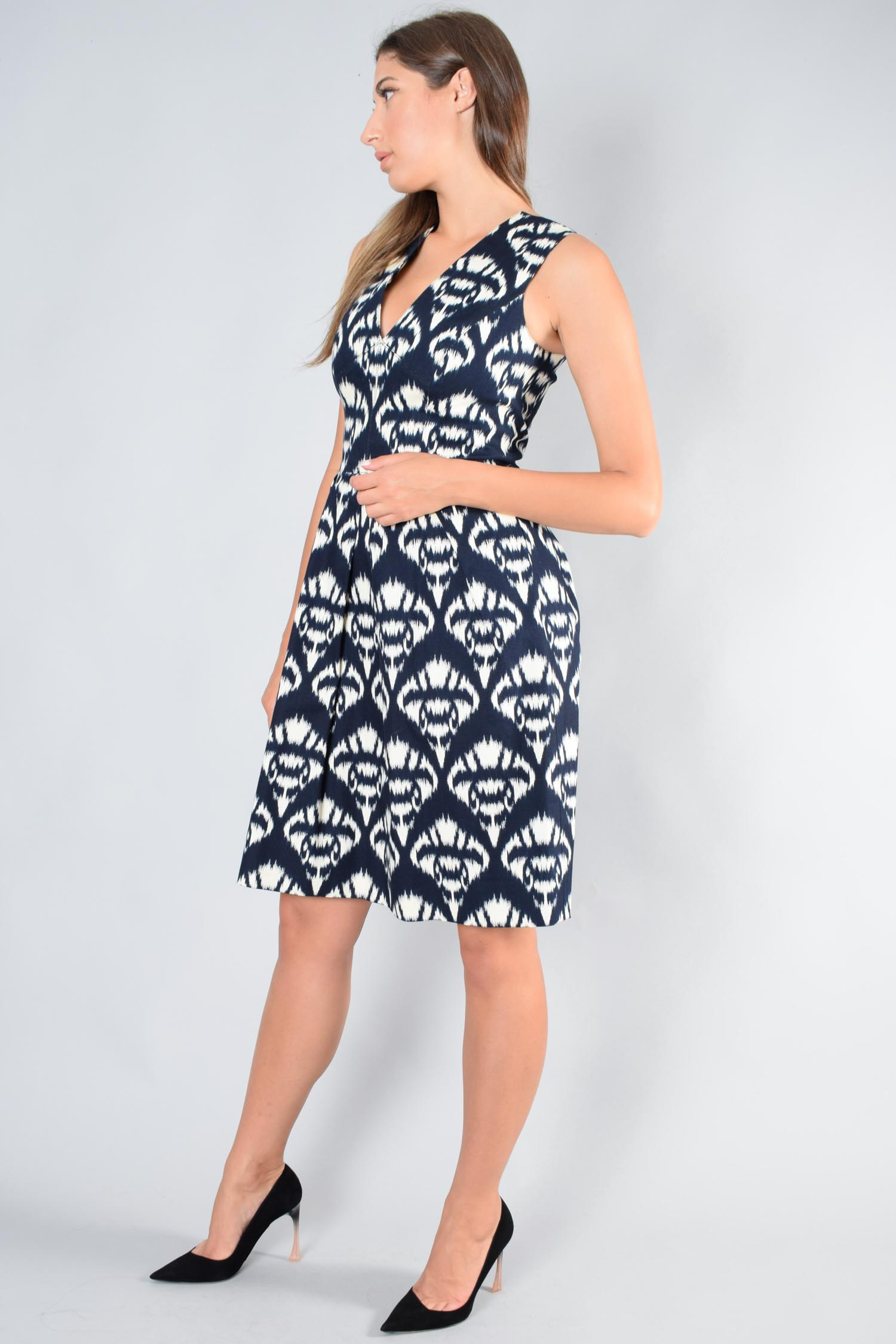Oscar De La Renta Blue/Cream Sleeveless Boatneck Printed Midi Dress Size 8