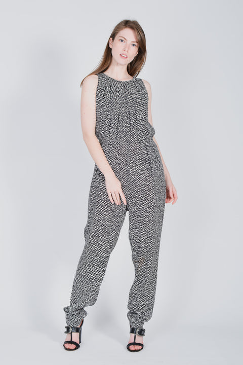 216cc2cf632 Max Mara Black and White Patterned Jumpsuit Size 10