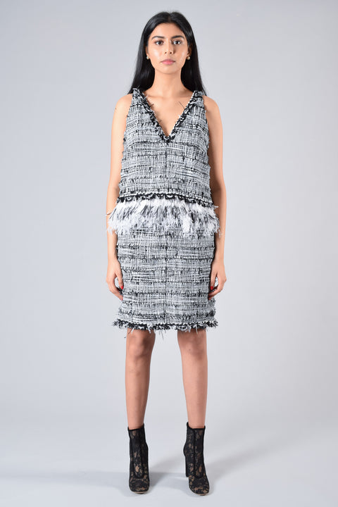 Chanel Black and White Feather Sleeveless Dress Size 38